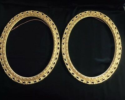 "Pair Antique Vintage Oval Rococo Gilt Wood Gesso Frames 16.5""x 13.5"""