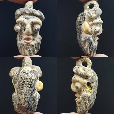 Stunning Beautiful Phoenician Old Glass Face Lovely Pendant amulet     # 4J