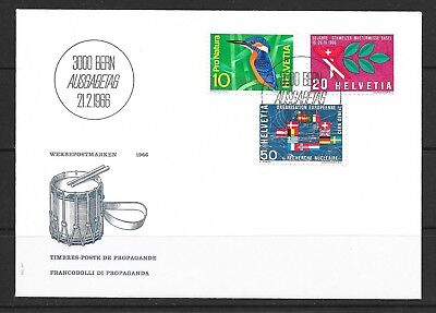 1966 Switzerland first day cover dated 21 February 1966 featuring 1966 events