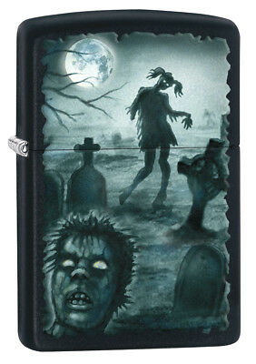 Zippo Custom Lighter GRAVEYARD ZOMBIES Ponytail Girl and Head Stones Black Matte