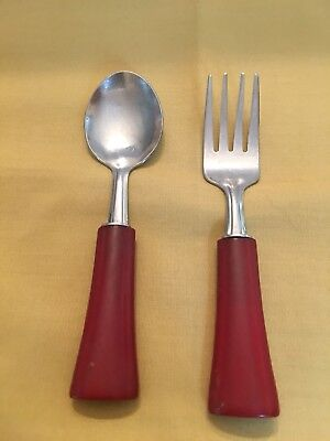Child's Vintage Fork And Spoon Set with red bakelite handles