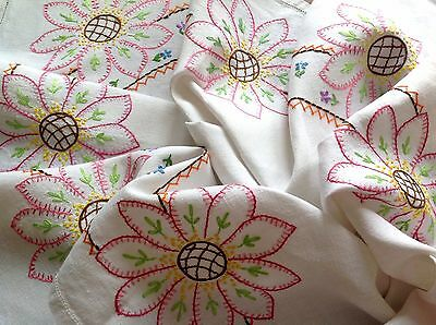 Vintage Hand Embroidered Off White Linen Tablecloth 33X34 Inches