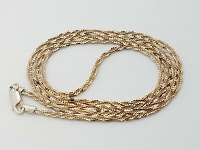 """Two Tone Sterling Silver 925 Diamond Cut Twisted Rope Chain Necklace 22"""" in"""