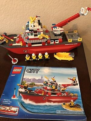 Lego City Fire Boat Set 7207 100 Complete W Minifigs Instructions