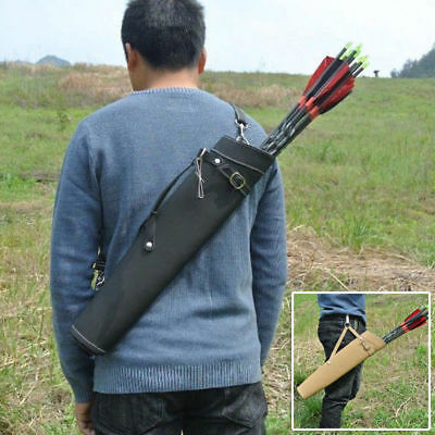 Archery Hunting Back Arrow Quiver Traditional Leather Belt Holder Bag Pouch Pack