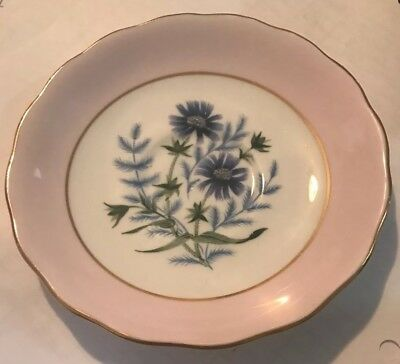 COLCLOUGH BONE CHINA ENGLAND SAUCER Plate Pink Border With Blue Flowers  5.5""