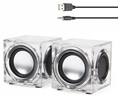 GOgroove Clear Cube USB Powered Wired PC Speakers SonaVERSE CRS 2.0 Stereo AUX