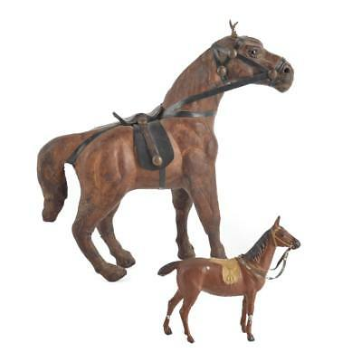 Vintage Leather Wrapped Horse & Antique Cast Iron Horse from Germany