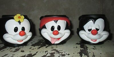 Animaniacs 3 Plastic Mugs, Cups. Never used but displayed