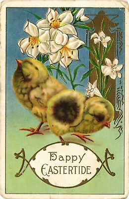 Dr Jim Stamps Us Chicks Lilies Easter Holiday Postcard Flag Cancel 1912