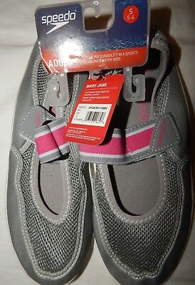 0feb623d691d Water Shoes S 5 6 Speedo Mary Jane Gray Pink Pool Swimming Shower Shoe  Womens