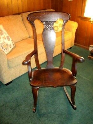 Beautiful Antique Oak Rocking Chair Very Sturdy Solid Wood Mahogany Color