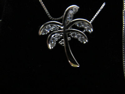 """Maui Divers 925 Sterling Silver 18"""" Box Chain Necklace & Palm Tree Pendant"""