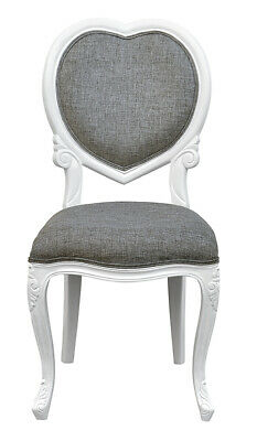 French Louis MEDEE Chair   White   Grey    Bedroom