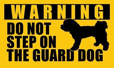 3x5 inch POODLE Do Not Step On the Guard Dog Sticker - funny small toy dog breed