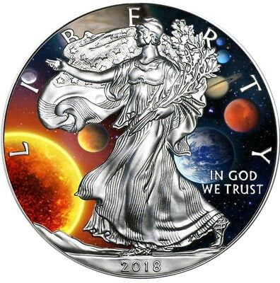 2018 1 Oz Silver $1 Colorized SOLAR SYSTEM EAGLE Coin.