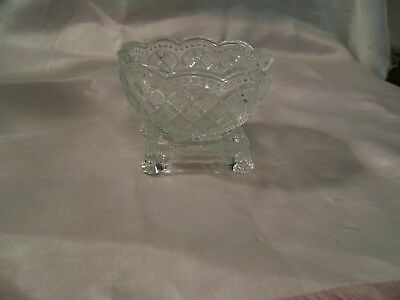 Small Miniature Clear Cut Glass Compote Square Pedestal Scalloped Avon Bowl Vint