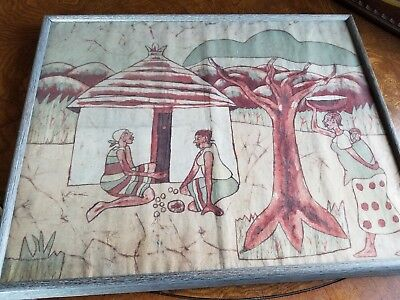 Vintage Mcm African Cloth Textile Painting  Signed