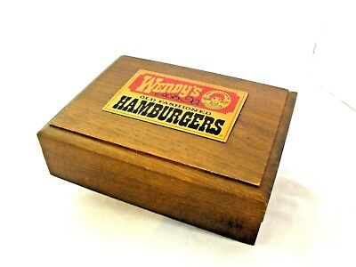 Wendy's Old Fashioned Hamburgers Collectible Wooden 2 deck playing card Box EUC