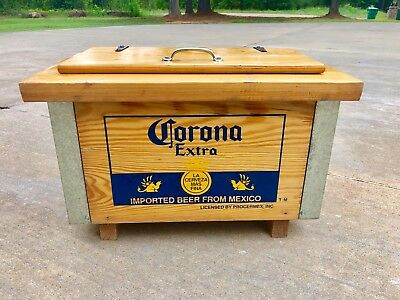 Vintage Vtg Corona Extra Wooden Wood Ice Chest Cooler Natural And Beautiful !!!