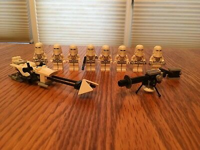 Lego star wars snowtrooper lot + snowspeeder & cannon - 8 snowtroopers