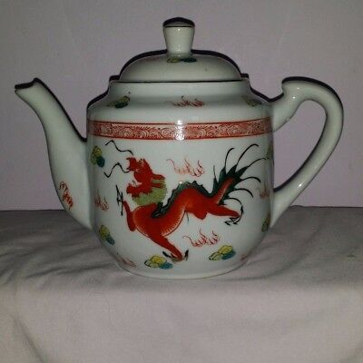 Chinese Dragon And Phoenix Teapot Red And Green Made In China
