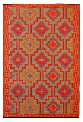 Fab Habitat Indoor/Outdoor Plastic Rug -  Lhasa Orange & Violet