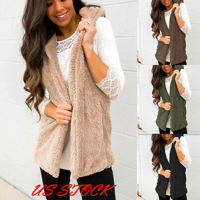 US Womens Warm Teddy Bear Jacket Oversized Hooded Vest Ladies Outwear Waistcoat