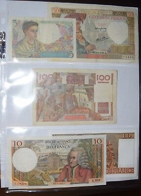France Francs Paper Currency Five Different Notes 1940's - 1970's