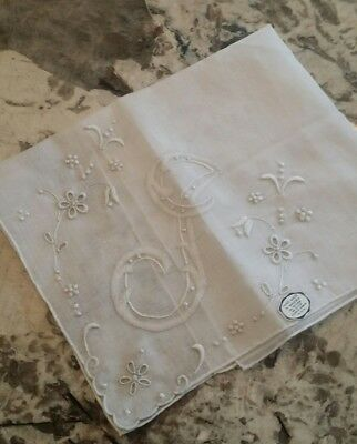 "VINTAGE MADEIRA Embroidered Monogram ""J"" Handkerchief Hanky~Bridal~NWT Wedding"