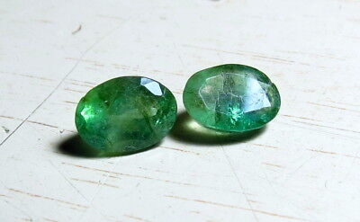 2pc 7X5mm NATURAL EMERALD OVAL CUT loose FACETED GEMS cut  from natural rough