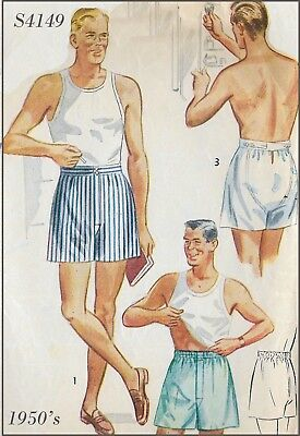 S4149 Simplicity 4149 Vintage Sewing Pattern 1950's Men Man's Shorts Size 38