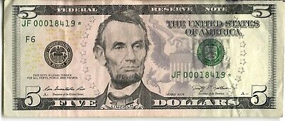Us Currency 5 Dollar Bill Star Note 2009 Low Serial Number 00018419
