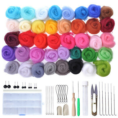 Wool Roving Yarn Needle Felting Mat Starter Kit Tool Set Spinning DIY Craft