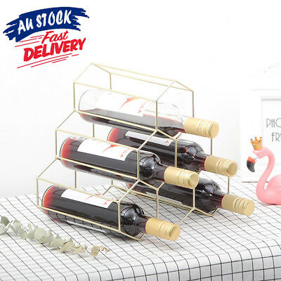 Wine Rack Metal Wine Bottles Holder Display Shelf Storage Stand Simple Creative