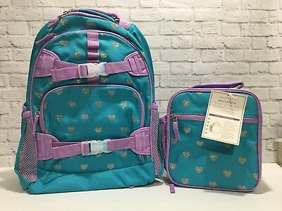 Pottery Barn Kids girl Large Teal Lavender Glitter HEART Backpack Lunch Box Set