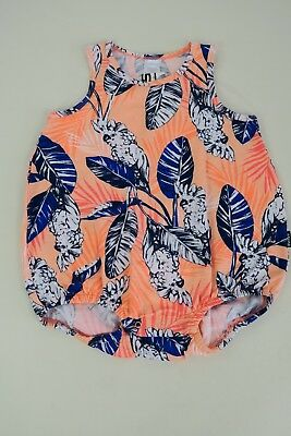 Bonds Baby Stretchies Sleeveless Bubblesuit sizes 1 2 Colour Orange Bird Print