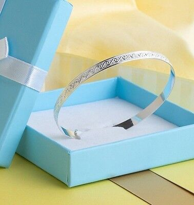 Solid Sterling Silver Baby Expandable Bangle Christening Gift Birthday Bracelet