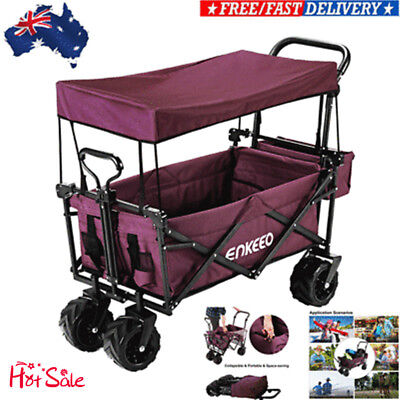 Foldable Utility Wagon Collapsible Beach Trolley Outdoor Cart Sporting Hiking