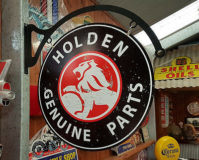 Double sided Round Holden Metal tin sign wall hanger Man cave bar Garage