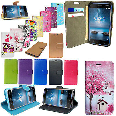 For NOKIA 3 / 5 / 2 / 1 - Genuine Leather Flip Wallet Phone Stand Case Cover