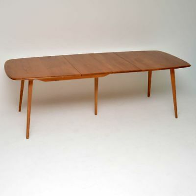RETRO ERCOL GRAND WINDSOR DINING TABLE IN SOLID ELM VINTAGE 1960's
