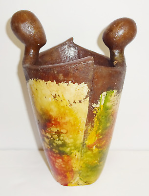 """Vintage Mexican Pottery Primitive Crude Hand Painted Signed Clay Vase 8"""" Tall"""