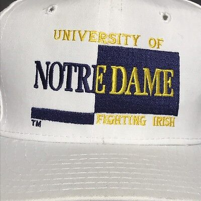 VINTAGE 90s Notre Dame Fighting Irish Mens White Snapback Hat Cap College NCAA