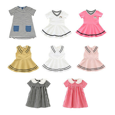 Summer Toddler Baby Girls Short Sleeve Princess Party Casual Tutu Dress 6M-8Y