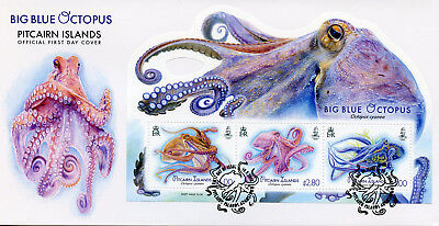 Pitcairn Islands 2018 FDC Big Blue Octopus 3v M/S Cover Marine Animals Stamps