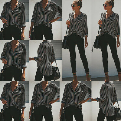 Womens Fashion Long Sleeve V Neck Stripes Blouse Loose Tops Ladies Casual Shirts