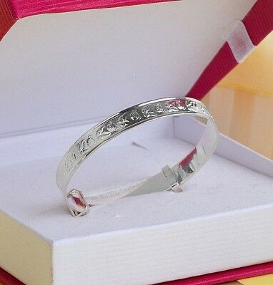 Solid Silver Baby Expandable Bangle, Children's Birthday Teddy Bear Gift, Boxed