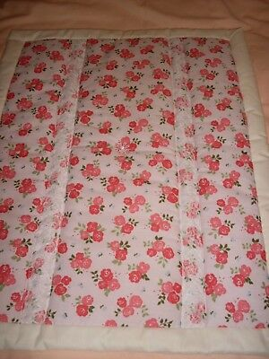 Pram / Crib Quilt - Pink  - Cerise floral with lace embellishment