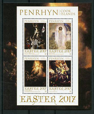 Penrhyn Cook Islands 2017 MNH Easter Art Paintings Caravaggio 4v M/S Stamps
